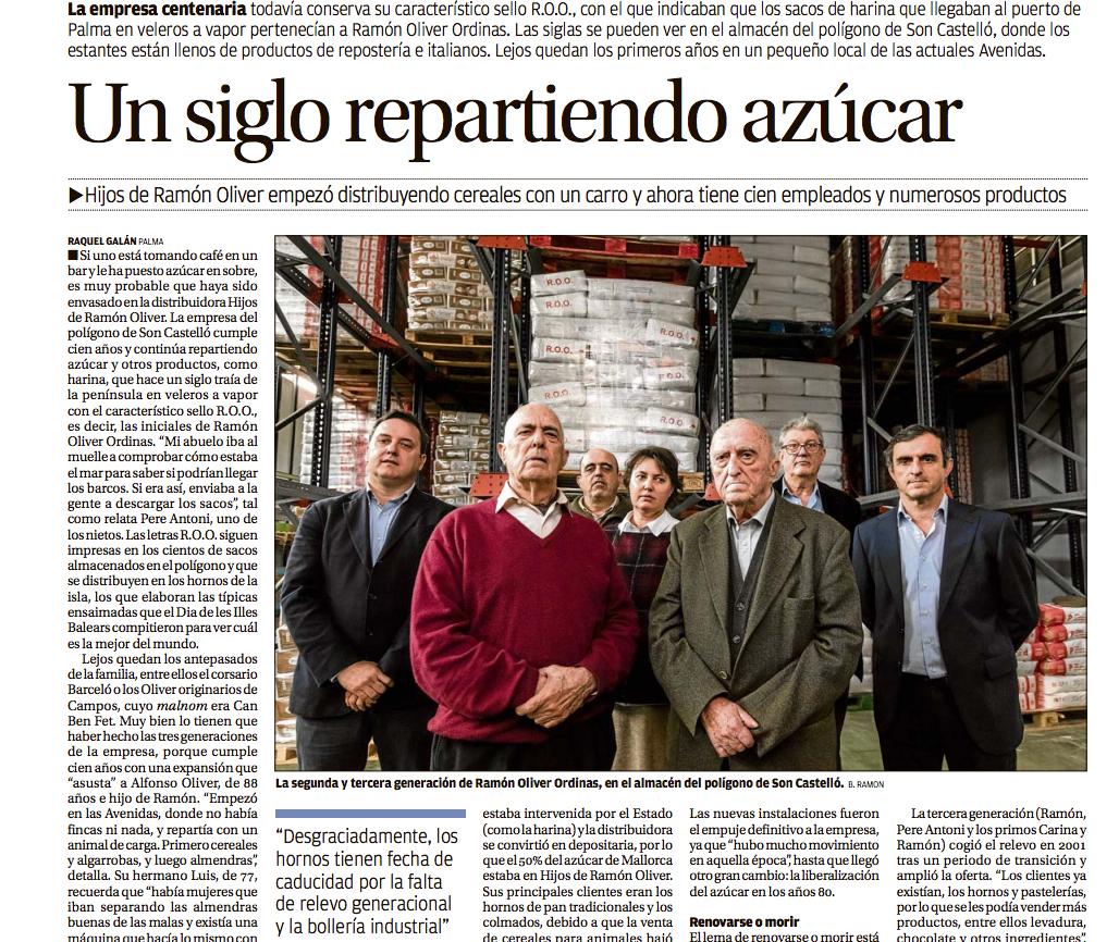 La prensa recoge en profundidad el centenario de Hijos de Ramón Oliver