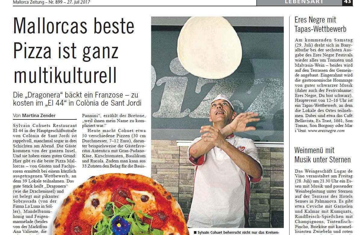 Mallorca Zeitung entrevista a Sylvain Cohuet, ganador del concurso La Mejor Pizza de Mallorca